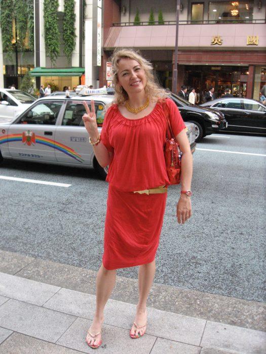Judit Kawaguchi in a red dress