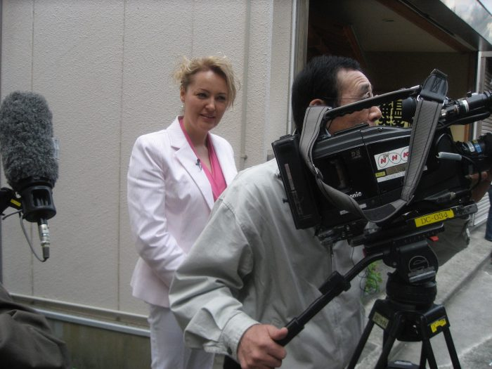 Before turning into a geisha, Judit is about to step in front of the camera for NHK TV.