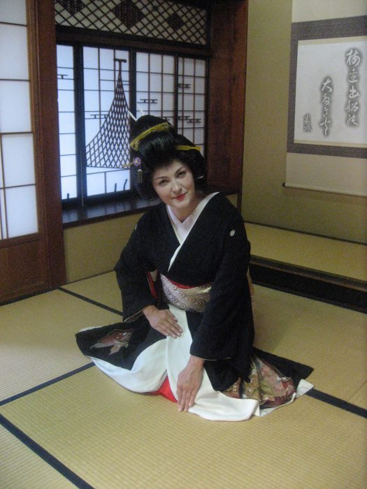 Judit Kawaguchi dressed as a geisha for her NHK TV show