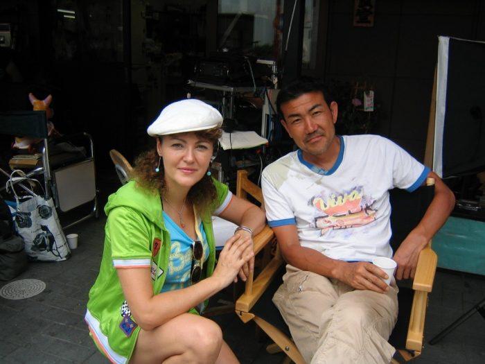 Dekotora movie director Hideyuki Katsuki & journalist Judit Kawaguchi on a break from filming in Asakusa, Tokyo