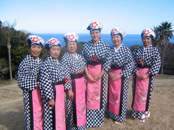Local ladies and NHK TV reporter Judit Kawaguchi, third from the right, dressed for the Izu Oshima Tsubaki Matsuri (Camellia Festival)