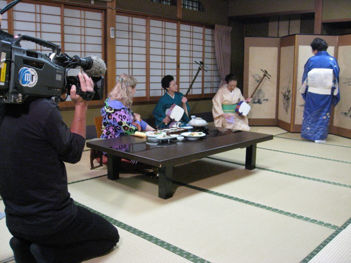 Geisha Chikako Pari being filmed for NHK TV with reporter Judit Kawaguchi