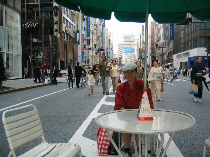 Judit Kawaguchi in Tokyo's Ginza district doing her weekly free counseling service.