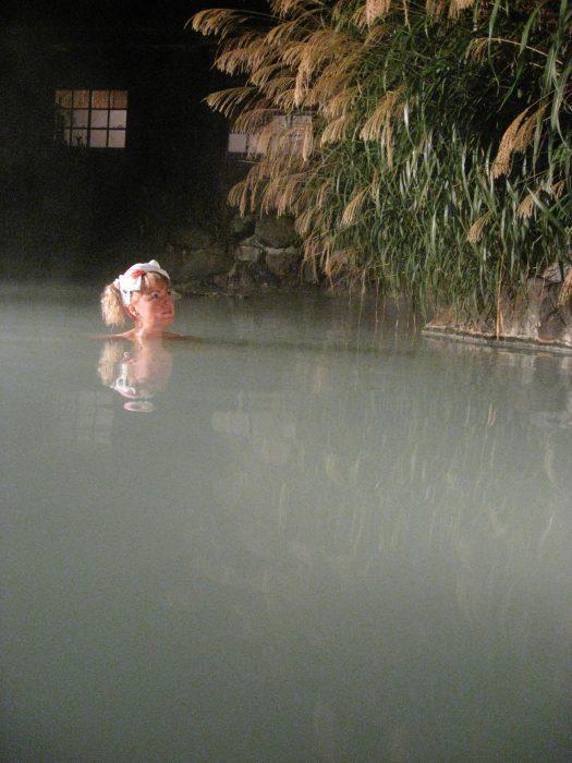 Judit Kawaguchi soaking in the milky healing waters of Tsurunoyu onsen in Akita prefecture, Japan.