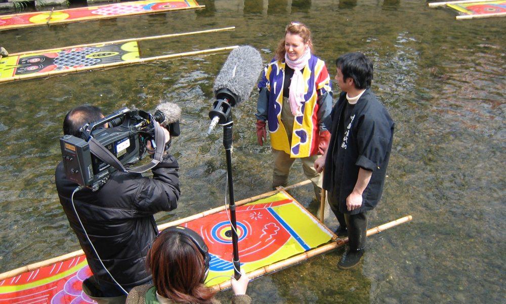 Judit filming koinobori making
