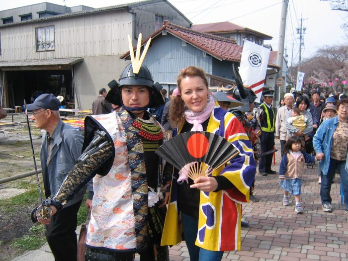 TV reporter Judit Kawaguchi and a samurai @ Japan