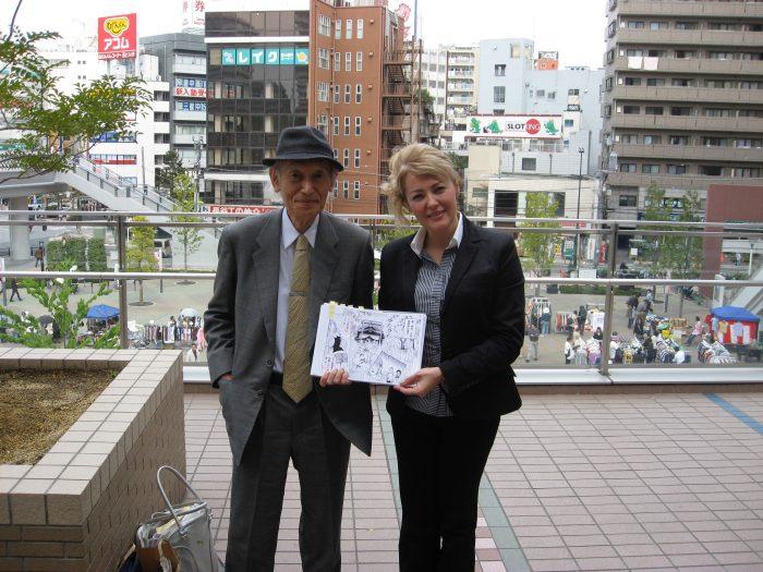 Former ohka pilot Hideo Suzuki w journalist Judit Kawaguchi