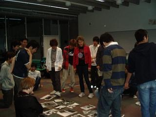 NHK TV reporter Judit Kawaguchi in the red jacket, teaching a weeklong workshop on TV show making at Future University, Hakodate.