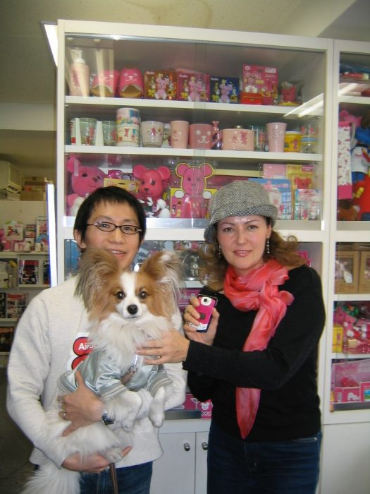 Japanese artist Kazuhiko Hachiya with his cute dog,テン, Ten, and journalist Judit Kawaguchi
