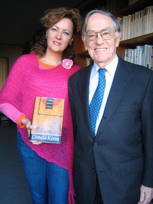 Professor Donald Keene and journalist Judit Kawaguchi in Tokyo