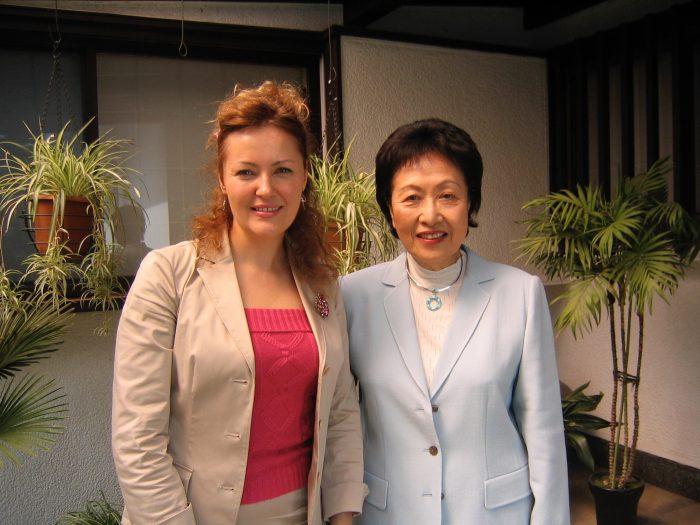 Journalist Judit Kawaguchi with Japanese author Ayako Sono in May 2006