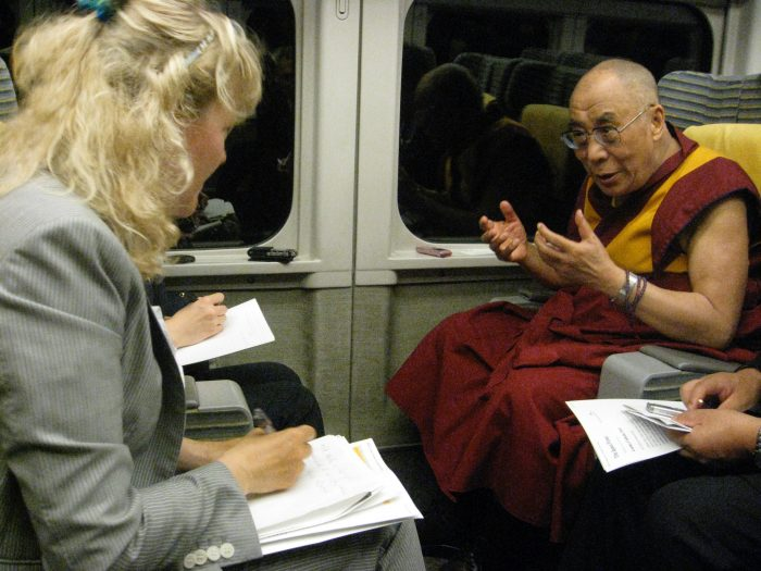 Hi Holiness the Dalai Lama is interviewed by Judit Kawaguchi in the shinkansen on their way to Nagano