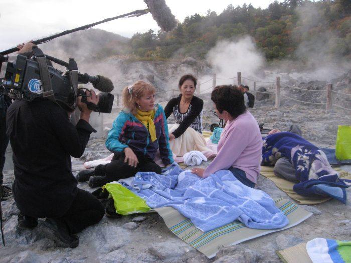 Judit Kawaguchi interviewing @ Tamagawa onsen , Akita , Japan