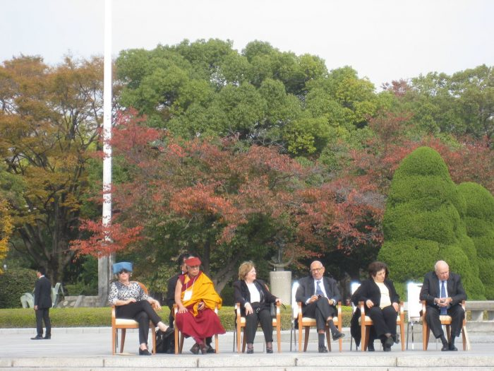 Nobel Peace Laureates in Hiroshima Peace Park in 2010. From left to right: Jody Williams, His Holiness the 14th Dalai Lama, Máiread Corrigan-Maguire, Mohamed ElBaradei, Shirin Ebadi, FW de Klerk, ( photo by Judit Kawaguchi)
