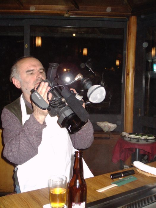 Radovan Tadic filming chef Murata Fujio at the New Otani Hotel Tokyo. Pic by Judit Kawaguchi