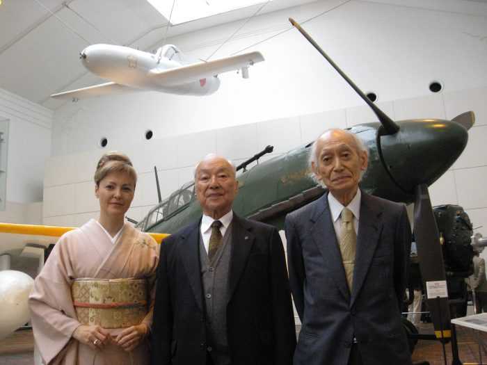 Journalist Judit Kawaguchi with former ohka pilots Hideo Suzuki and Morimasa Yunokawa inside Yushukan Museum at Yasukuni Shrine, Tokyo.